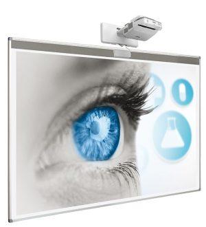"""Beschrijfbaar projectiebord (softline profiel) voor interactieve touch beamer - 128 x 201 cm (83"""")"""