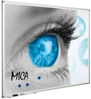 Projectiebord Softline profiel 8mm email wit MICA projectie (1:1) - 150x150 cm
